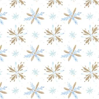 Patrón de copos de nieve acuarela