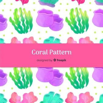 Patrón coral acuarela dibujado a mano