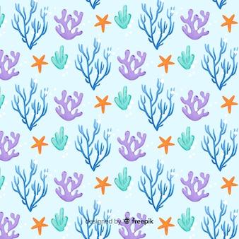 Patrón coral acuarela