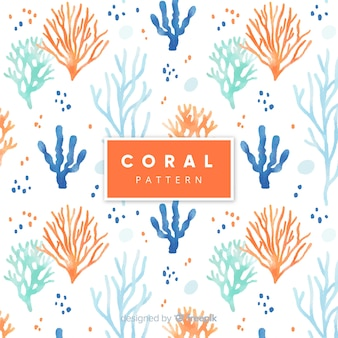 Patrón coral de acuarela