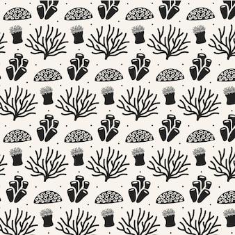 Patrón coral blanco y negro