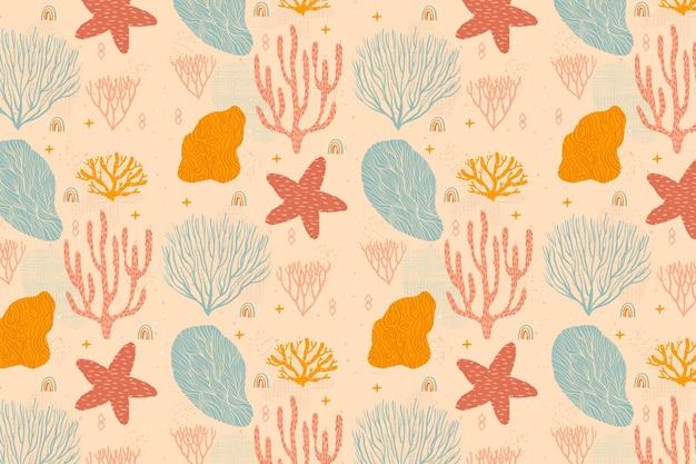 Patrón coral color vintage