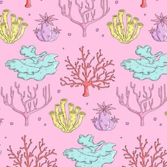 Patrón coral colorido