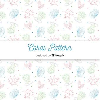 Patrón coral dibujado a mano colores pastel