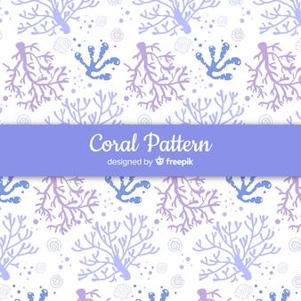 Patrón coral dibujado a mano