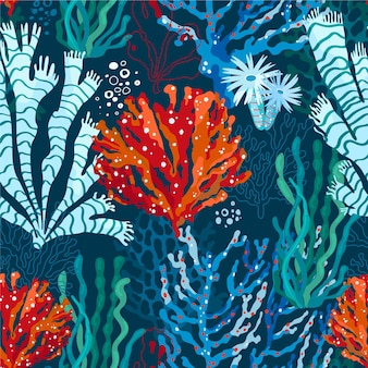 Patrón de coral de diseño plano