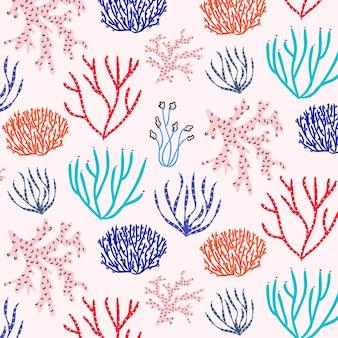 Patrón de coral submarino colorido