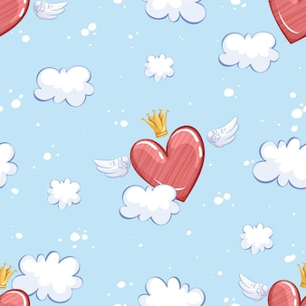 Patrón con un corazón alado en una corona, volando sobre el cielo y las nubes.