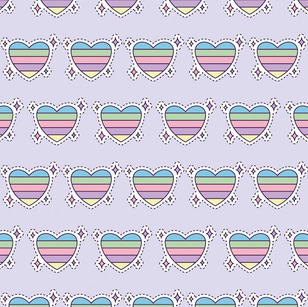 Patrón con corazón colorido