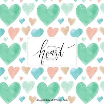 Patrón de corazones de acuarela en tonos pastel