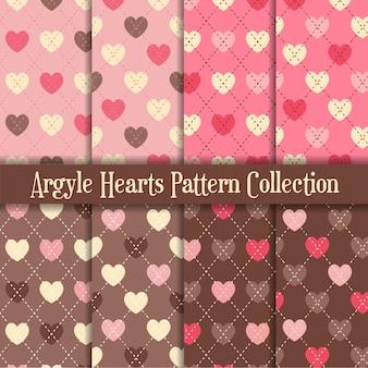 Patrón de corazones de argyle rosa y chocolate