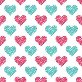 Patrón de corazones dibujados a mano. fondo del día de san valentín para la plantilla de vacaciones. ilustración de estilo creativo y de lujo.