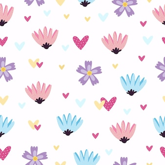 Patrón con corazones y flores