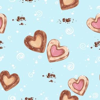 Patrón de corazones de galletas dulces con mermelada y crema.
