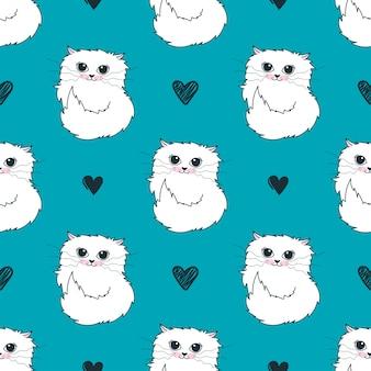 Patrón con corazones y gatos blancos lindos