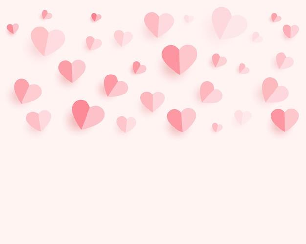 Patrón de corazones de papel suave con espacio de texto