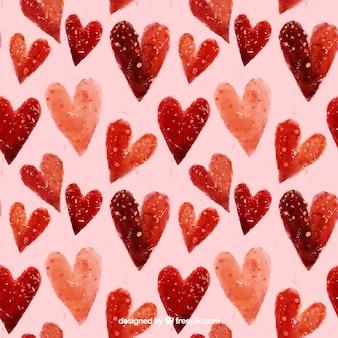 Patrón de corazones pintados a mano