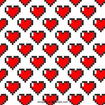 Patrón de corazones pixelados