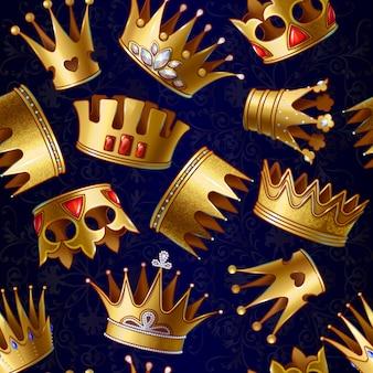 Patrón de coronas reales de oro de dibujos animados