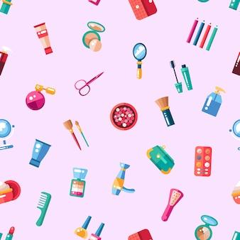 Patrón de cosméticos, maquillaje de iconos y elementos.