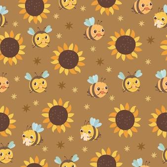 Patrón sin costuras con abejas y girasoles