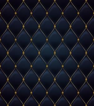 Patrón sin costuras acolchado. de color negro. costuras metalizadas doradas sobre textil.
