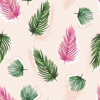 Patrón sin costuras acuarela dulce colorido con hojas tropicales: palmas,