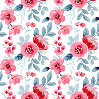 Patrón sin costuras acuarela flor roja
