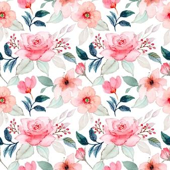 Patrón sin costuras acuarela flor rosa