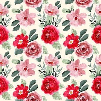 Patrón sin costuras acuarela flor verde rosa roja