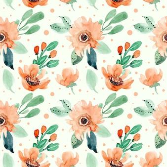 Patrón sin costuras acuarela floral retro