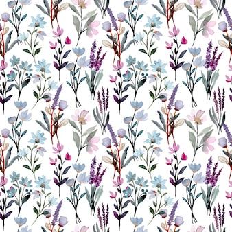 Patrón sin costuras acuarela floral salvaje púrpura