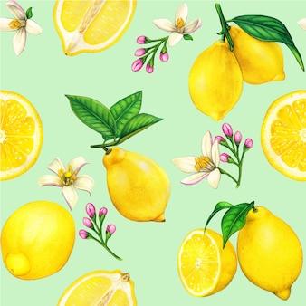 Patrón sin costuras acuarela de limón de alta calidad con frutas y flores