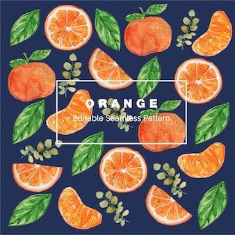 Patrón sin costuras acuarela naranja