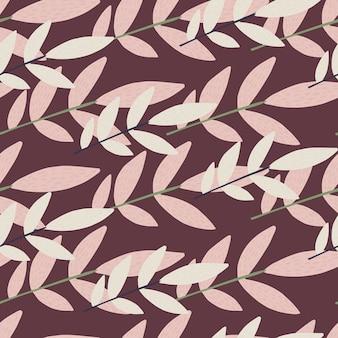 Patrón sin costuras al azar con elementos botánicos. lila y ramas de luz sobre fondo morado.