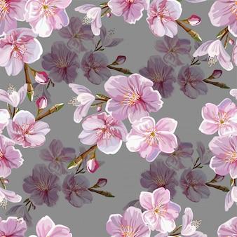 Patrón sin costuras alegre flor