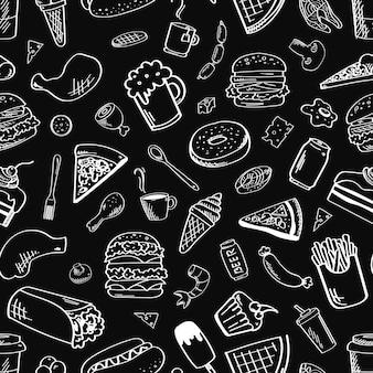 Patrón sin costuras de alimentos en blanco y negro