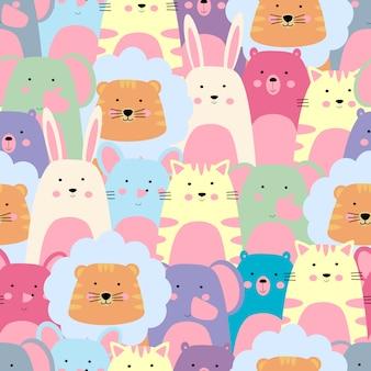 Patrón sin costuras animal colorido