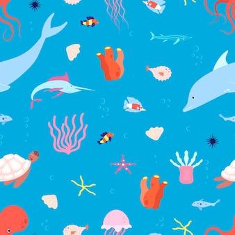Patrón sin costuras de animales marinos