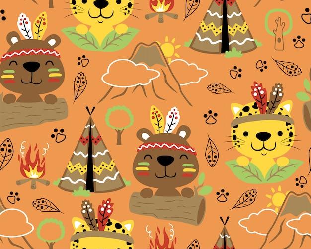 Patrón sin costuras con animales tribus indias