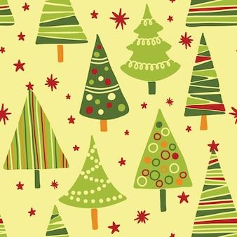 Patrón sin costuras con árbol de navidad