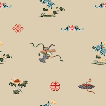 Patrón sin costuras de arte chino tradicional