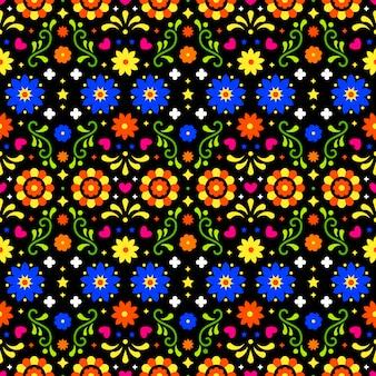 Patrón sin costuras de arte popular mexicano con flores