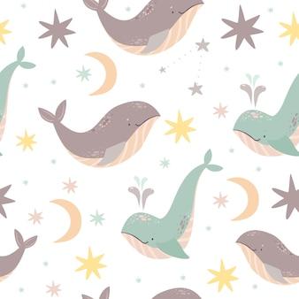 Patrón sin costuras ballenas
