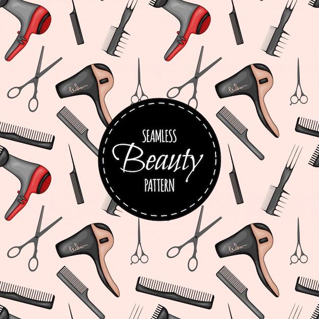 Patrón sin costuras de belleza con suministros de peluquería. estilo de dibujos animados