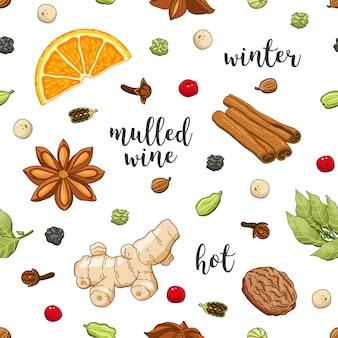 Patrón sin costuras en blanco con vino caliente