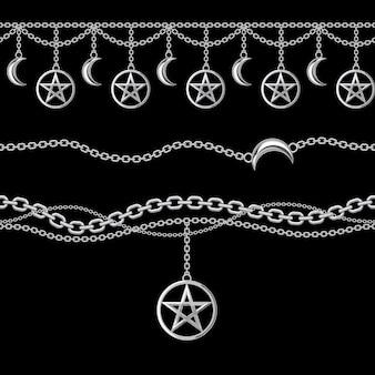 Patrón sin costuras de bordes de cadenas metálicas de plata con pentagrama y colgante de luna.