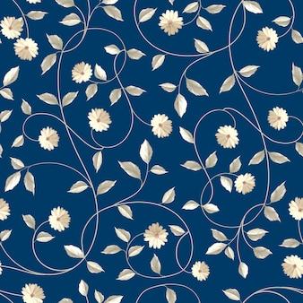 Patrón sin costuras botánico. flor floreciente en estilo retro.