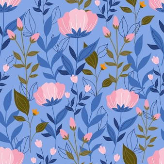 Patrón sin costuras botánico con flores y hojas