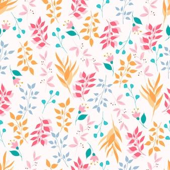 Patrón sin costuras botánico. fondo con elementos florales y botánicos. hojas rosadas, azules, amarillas. hojas